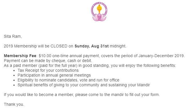 2019 Membership Closing
